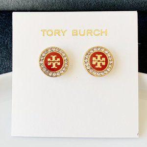 Tory Burch-Red logo crystal earrings
